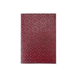 Leder-Notizbuch A6 Romb weinrot, nachfüllbar