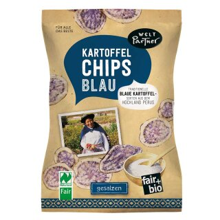Kartoffelchips blau
