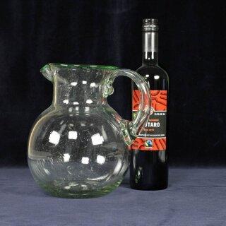 Glaskrug, grüner Rand 3L mundgeblasen
