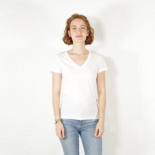 Damen T-Shirt mit V-Ausschnitt weiß