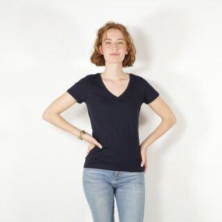 Damen T-Shirt mit V-Ausschnitt marineblau