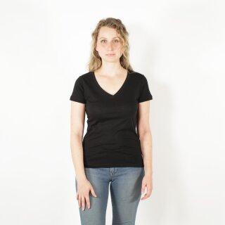 Damen T-Shirt mit V-Ausschnitt schwarz