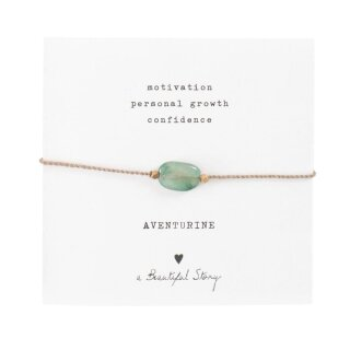 Armband Edelsteinkarte mit Aventurin und vergoldeten Perlen