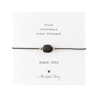 Armband Edelsteinkarte  mit schwarzem Onyx und vergoldeten Perlen