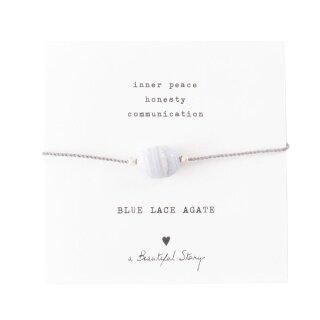 Armband Edelsteinkarte  mit blauem Achat und versilberten Perlen