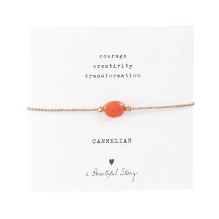 Armband Edelsteinkarte  mit Karneol und vergoldeten Perlen