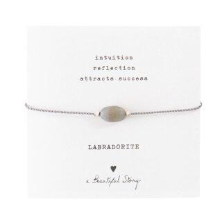 Armband Edelsteinkarte  mit Labradorit und versilberten Perlen