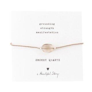 Armband Edelsteinkarte  mit Rauchquarz und versilberten Perlen