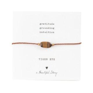Armband Edelsteinkarte  mit Tigerauge und vergoldeten Perlen