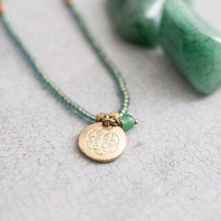 Perlenkette Truly mit Aventurin und Lebensblumen-Anhänger