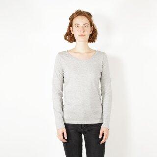 Damen Langarm-Shirt grau meliert