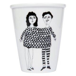 Porzellan-Becher Paar glücklich zusammen