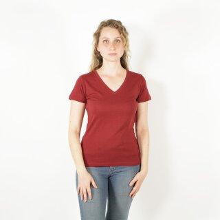 Damen T-Shirt mit V-Ausschnitt burgunderrot