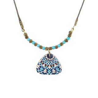 Halskette JAMILA oval blau-weiß