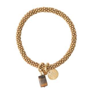Perlenarmband Jacky Gold Tigerauge Lotus