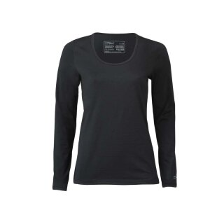 Damen Funktions-Shirt langarm, Regular fit, schwarz