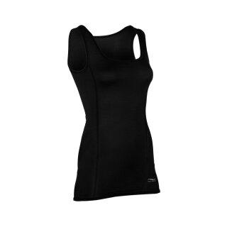 Damen Funktions-Tanktop schwarz, Slim Fit, Merinowolle/Seide