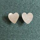 Ohrstecker Herz, Kupfer versilbert, Kenia