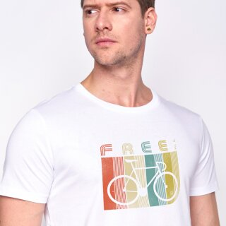 Herren T-Shirt Bike Retro Stripes White M