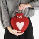 Herzwärmeflasche 0,8l Herz, rot/weiss