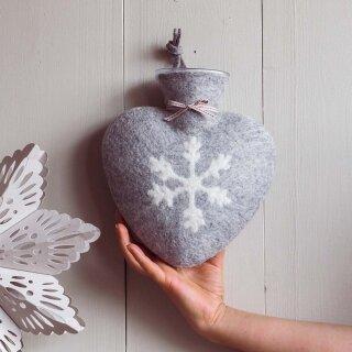 Herzwärmeflasche 0,8l Schneeflocke, grau meliert