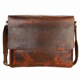 Leder-Messenger-Tasche, braun pull-up