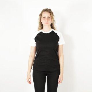 T-Shirt unisex, schwarz mit weißen Ärmeln