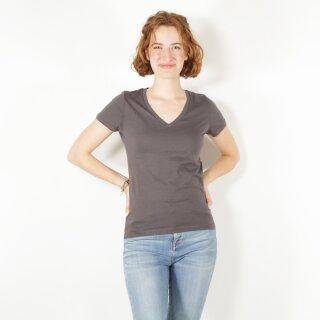 Damen T-Shirt mit V-Ausschnitt anthrazit