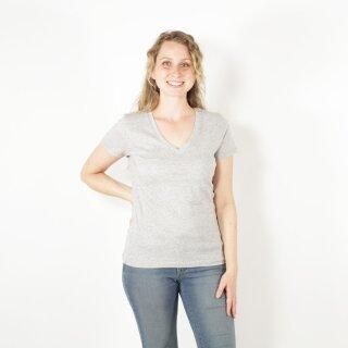 Damen T-Shirt mit V-Ausschnitt grau meliert