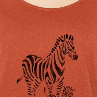 Damen T-Shirt Zebras bombay brown