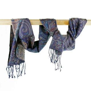 Seiden-Schal Paisley deep blue