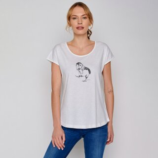 Damen T-Shirt Animal Puffin Walk white