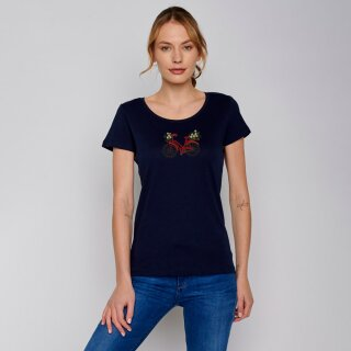 Damen T-Shirt Bike Flower dark navy