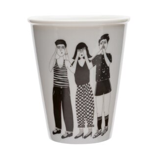 Keramik-Becher - hear see and shut up