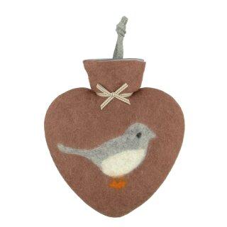Herzwärmeflasche 0,8l Wintervogel, terracotta