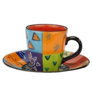 Keramik-Espressotasse bunt, 5,5 cm