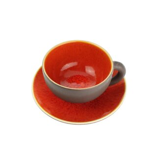 Keramik-Jumbotasse mit Untertasse, 450 ml