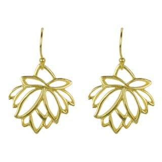 Silber-Ohrhänger Lotus, vergoldet