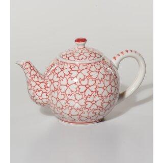 Teekanne Herzerl weiß-kirschrot