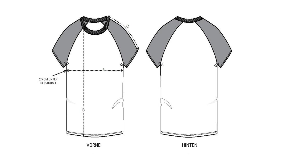 Größentabelle Unisex Shirt mit abgesetzten Ärmeln