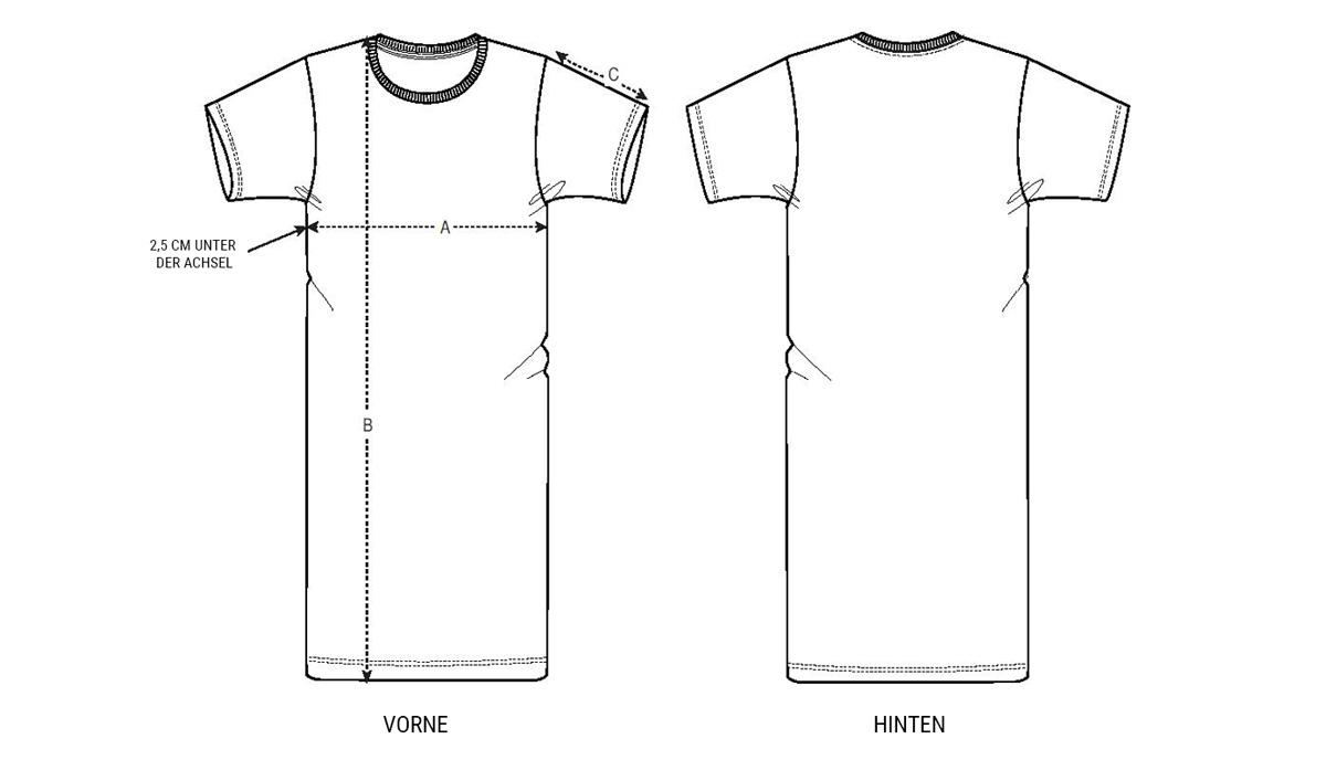 Größentabelle T-Shirt Kleid Damen