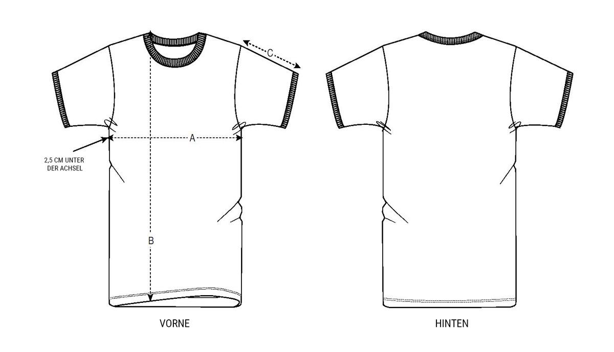Größentabelle T-Shirt Unisex Ringe
