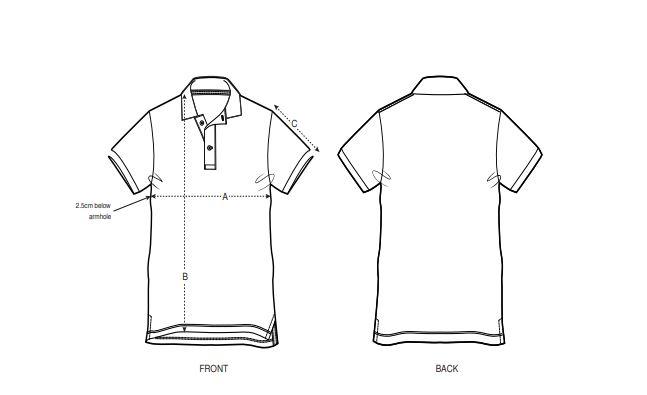 Herren Polo-Shirt Größenvergleich Abmessungen