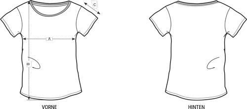 Groessentabelle T-Shirt Rundhals Damen